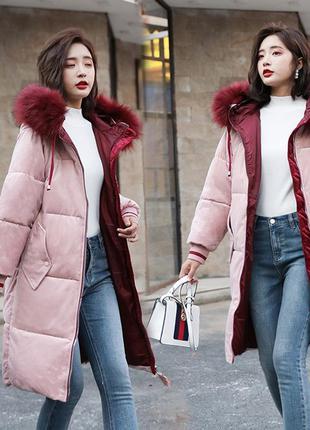 Женский удлиненный зимний бархатный пуховик, парка, куртка роз...