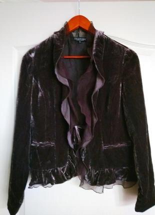 Неимоверно красивый, гламурный бархатный пиджак вискоза/шёлк