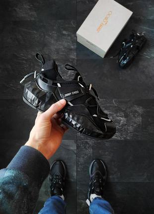 Jimmy choo black шикарные женские кроссовки джими чу чёрные