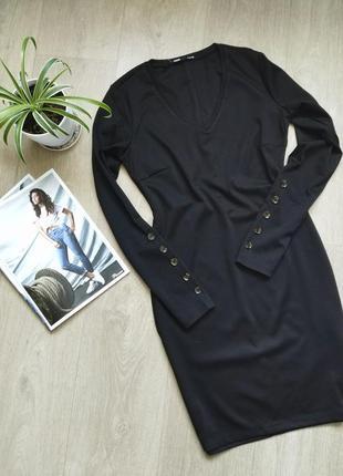 Платье черное с v-образным вырезом , 3 цвета