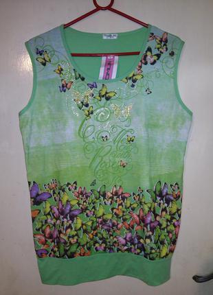 Новая,с бирками,красивейшая блуза-маечка с стразиками и бабочк...