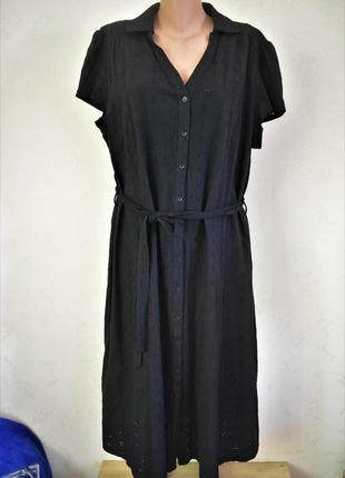 Натуральное платье с вышивкой большого размера