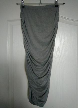 Лёгкая трикотажная юбка макси присборенная