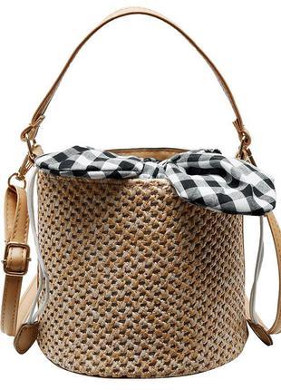 Скидка!тренд сезона! 💣соломенная сумка с текстильными ушками 🔥