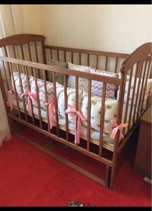 Детская кроватка маятник+матрас+постель