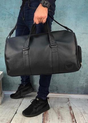 Emporio armani шикарные мужские сумка саквояж в черном цвете😍
