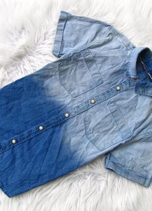 Стильная и качественная джинсовая рубашка с коротким рукавом p...