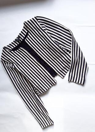 Пиджак в полоску укорченый