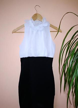 Платье черно белое нарядное///много интересного///