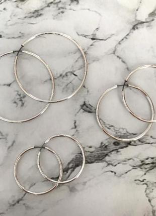 Набор сережек серьги кольца серебро разный диаметр six asos