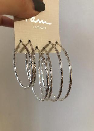 Гофрированные серьги сережки кольца серебро украшение разного ...