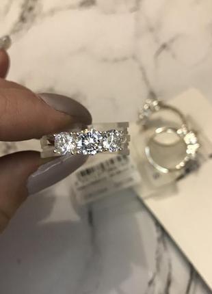 Кольцо обручальное камни цирконы цирконии серебро украшение asos