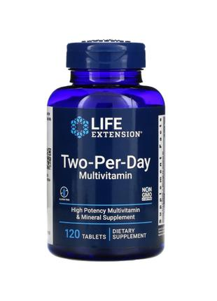 Life Extension, Мультивитамины Two-Per-Day, 120 таблеток