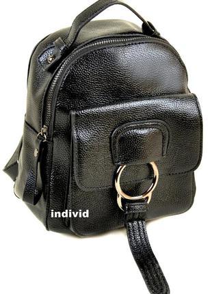 Мини рюкзак alex rai. черная сумка женская алекс рей. кожаная ...