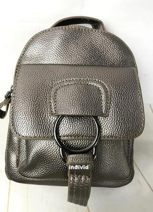 Женская сумка кожаная. серебристый рюкзак. женский портфель. м...