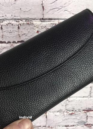 Черное женское портмоне. кожаный бумажник. женский кожаный кош...