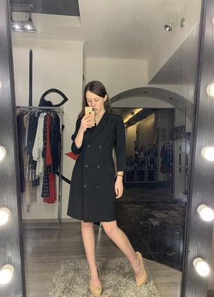 Шикарное сексуальное платье двубортный  пиджак черное мини