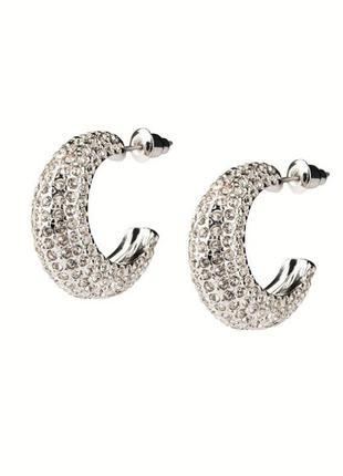 Широкие сережки серьги креолы кольца камни стразы украшение се...