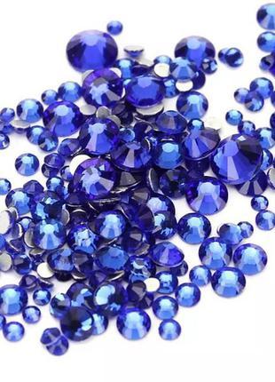 Стразы микс размеров синие (стекло)