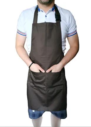Коричневый фартук для продавцов поваров барменов официантов