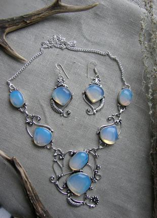 Набор комплект ожерелье колье серьги сережки с лунным камнем -...