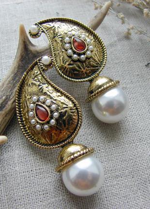 Серьги в стиле gussi оригинальные сережки в индийском восточно...