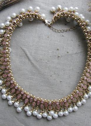 Шикарное ожерелье колье чокер с жемчужинами в восточном стиле....