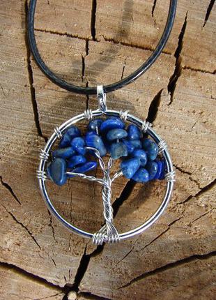 Кулон дерево жизни с натуральным камнем ожерелье с лазуритом. ...