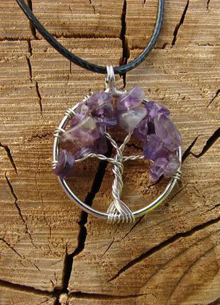 Кулон дерево жизни с натуральным камнем ожерелье с аметистом. ...