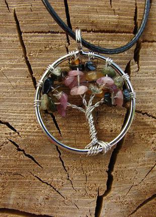 Кулон дерево жизни с натуральным камнем ожерелье с цветным тур...