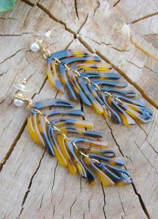 Крупые серьги с пальмовыми листьями леопардовый стиль черепахо...