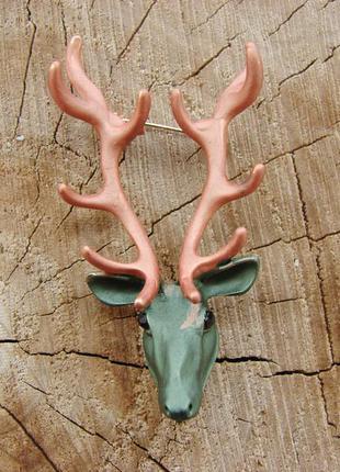 Стильная крупная брошь олень с рогами брошка осенняя с эмалью....