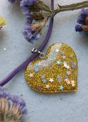 Чокер с золотым сердцем с блестками ожерелье колье разноцветно...