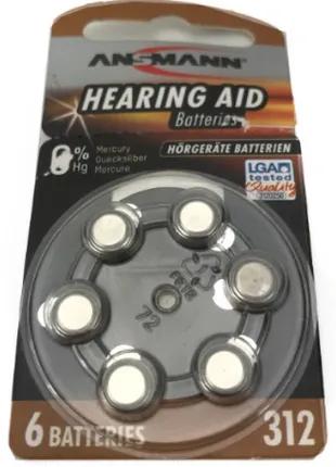 Батарейки ANSMANN. 312.Батарейки для слуховых аппаратов