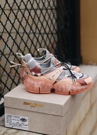 Jimmy choo grey pink шикарные женские кроссовки джими чу серые...