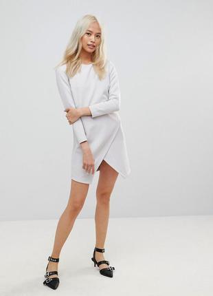 Асимметричное платье на запах с длинными рукавами  от asos