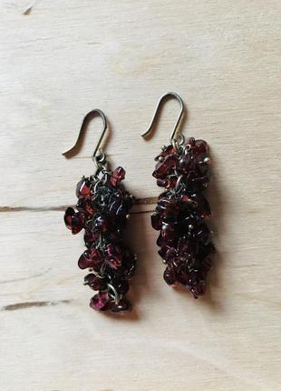Сережки грозди серьги с натуральным камнем янтарь