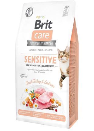 Сухой корм для привередливых кошек Brit Care Cat GF Sensitive ...