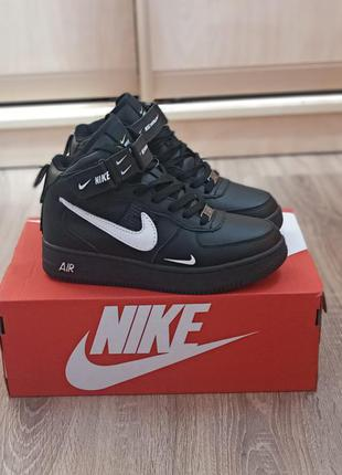 Подростковые зимние кроссовки nike air force кожаные, черные