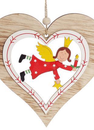 Новогоднее украшение-подвеска 13см Сердце с ангелом BonaDi 785...