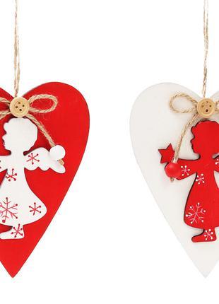 Новогоднее украшение-подвеска 12см Сердце с ангелом, 2 вида Bo...