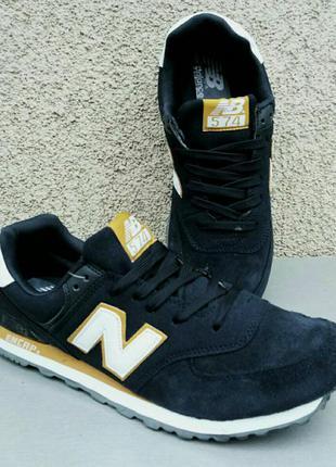 New balance 574 кросівки чоловічі темно сині нубук, розмір 43