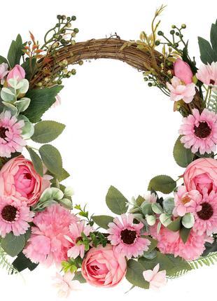 Декоративный венок с розовыми цветами BonaDi SA2-554 ТОВАР ОТ ...
