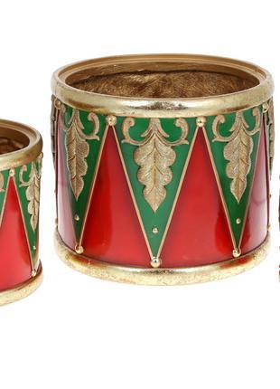 Набор (3 шт) декоративных кашпо Барабан щелкунчика, 31см BonaD...