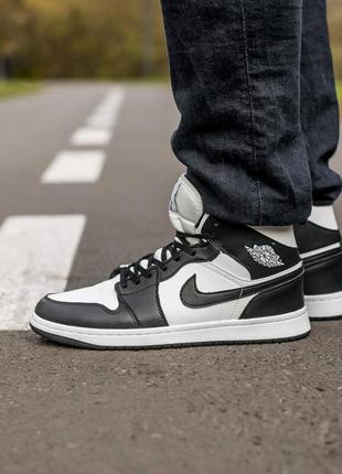 ❄️ зимние мужские кроссовки на меху nike air jordan 1 high bla...