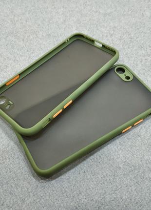 Противоударный матовый чехол для iPhone 7 8 хаки бампер защита...