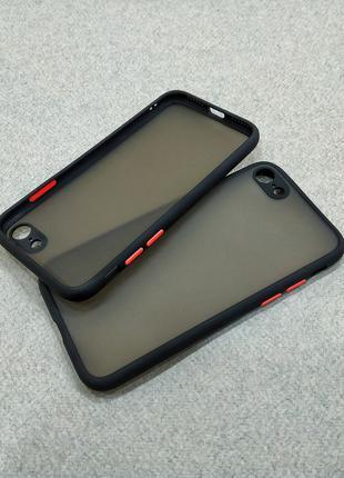 Противоударный матовый чехол для iPhone 7 8 черный бампер защи...