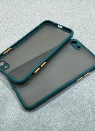 Противоударный матовый чехол для iPhone 7 8 зеленый бампер защ...