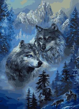 Картина по номерам волк и волчица 40*50 babylon