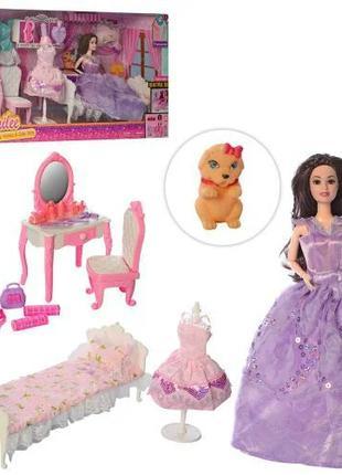 Кукла шарнирная 2768 с мебелью и набором платьев, 2 цвета